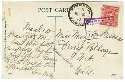 Jamaica 1910 Boxed Myrtle Bank Cancel In Violet On Postcard To The U.s.