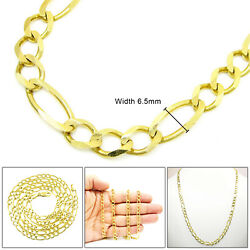 10k Solid Figaro Link Chain 6.5mm Real Gold Necklace 18andrdquo To 30andrdquo Inches