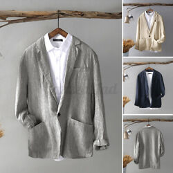 Menand039s Front Button Formal Jacket Blazer Long Sleeve Jacket Cotton Coats Top Cape