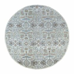 8and0391x8and0391 Peshawar Willow Tree Design Shiny Wool Round Hand Knotted Rug R67156