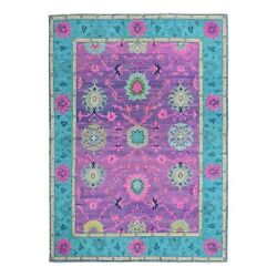 6and0391x8and0399 Hot Pink Fusion Kazak Pure Wool Floral Design Hand Knotted Rug R50771