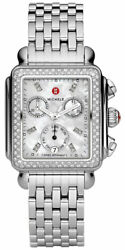 Michele Deco Chronograph Day/date Steel And Diamond Womens Watch Mww06p000099