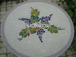 Grapes Rare Decorative Marble Coffee End Table Side Top Inlaid Kitchen Art H3917