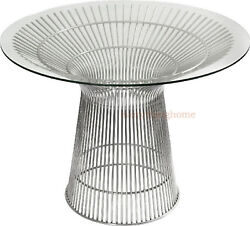 """43"""" Round Glass Top Dining Conference Table Stainless Steel Spoke Wire Rod Base"""