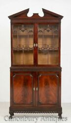 Chippendale Bookcase Cabinet - Antique Mahogany 1860