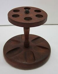 Vintage Wooden Smoke Pipe Stand With 6 Holders - 6 X 5 1/2 Tall