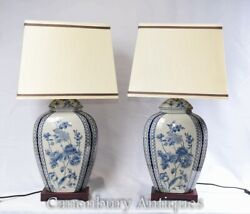 Pair Blue White Porcelain Table Lamps - Chinese Lighting