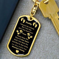 Daddy To Be Military Keychain, Fathers Day Gift, New Dad Gift From Mommy's Tummy