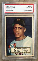 1952 Topps Willie Mays 261 Psa 4 Mint Centering