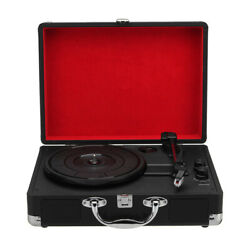 Wood Retro Rpm 33/45/78 Int Music Stereo Suitcase Turntable Vinyl Record Player