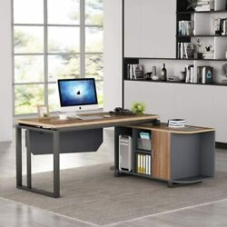 Tribesigns L-shaped Desk 55 New Executive Office Desk With File Cabinet Ot