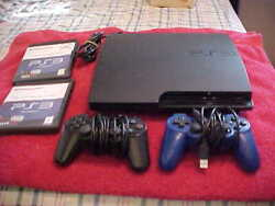 Playstation 3 Ps3 Slim Black Video Game Console Bundle 2 Controllers 2 Games