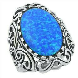 Vintage Style Ring Sterling Silver 925 Blue Lab Opal Face Height 31 Mm Size 11