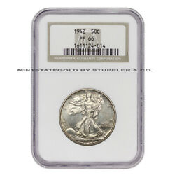 1942 50c Silver Walking Liberty Ngc Pf66 Proof Graded Half Dollar Fifty Cents