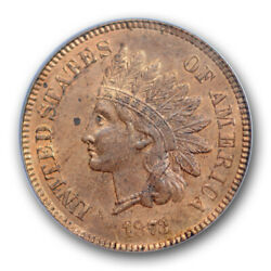 1873 1c Open 3 Indian Head Cent Pcgs Ms 63 Rb Uncirculated Red Brown Cert8610
