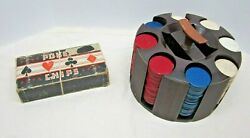 Vintage Plastic Poker Chip Caddy With Pressed Paper Chips