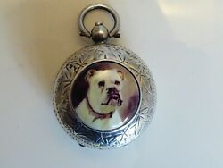 Silver Chester Hallmarked 1900 Sovereign Case With Pictorial Dog Enamel To Front
