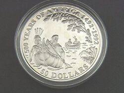 Münze 50 Dollar 500 Years Of America 1993 Jacques Marquette