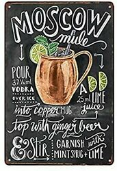 Moscow Mule Cocktail Bar Pub Home Vintage Look Tin Metal Sign 8 X 12