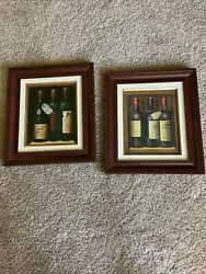 """2- Wine Bottle Framed And Matted Paintings 15""""x13"""" Frame Size As Pics"""