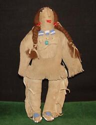Antique Native American Indian Beaded Leather 9 1/2 Plains Tribe Doll