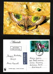Aitutaki Cook Islands Postcard Butterfly Stamp Butterfly