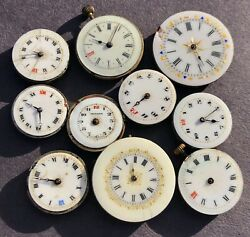 Collection Job Lot Antique Pocket And Wristwatch Enamel Faced Watch Movements