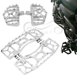 Chrome Wide Fat Foot Pegs Floor Board Fit For Harley Electra Road Tour Tri Glide