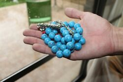Vintage Turquoise And Agate Round 33 Prayer Beads Islamic Rosary Tasbeeh 145g Fine