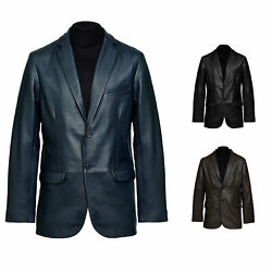 Pure Leather Blazer For Menand039s Soft Lambskin Two Buttons Casual Sports Event Coat