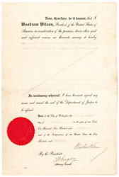 1916 President Woodrow Wilson Signed Document Commutation Of A Counterfeiter