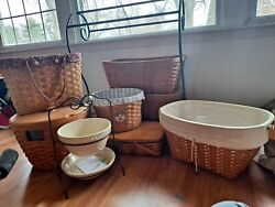 Longaberger Baskets, Quilt Rack, And Double Dish Rack With Dishes