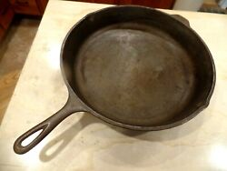 Vintage Sk 14 Cast Iron Skillet Frying Pan Made In Usa Lodge 3 Notch Raised Rim