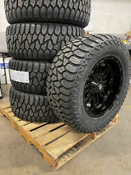 20x10 Fuel Hostage 35 At Black Wheels Rims Tire Package 5x5 Jeep Wrangler Jk Jl