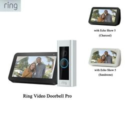 Ring Video Doorbell Pro With Ring Chime Pro/ Echo Show 5 Sandstone / Charcoal