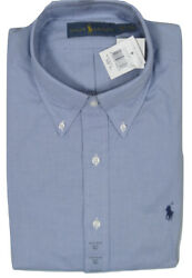 New Polo Dress Shirt Blue And White Micro Check Us And Euro Sizing