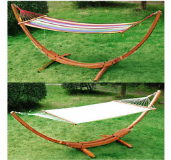 Wooden Curved Arc Hammock Stand With Cotton Hammock Outdoor Patio Swing 2 Color