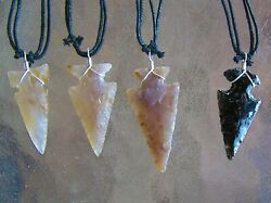 4 Navajo Hand Knapped Agate Sterling Silver Arrowhead Necklaces Mike Ahasteen