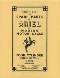 Ariel Motorcycle Square Four Model 4g Mk Ii Parts List 1953 Reprnt