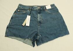 Topshop Womenand039s A Line Rich Denim Shorts Cd4 Blue Size Us8 Uk12 Nwt