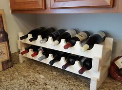 Solid Wood Expandable Wine Rack Handcrafted 12 Bottle Modular