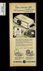 1954 General Electric Waffle Sandwich Iron Vintage Print Ad 17196