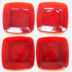 Vintage 4 Four Royal Ruby Red Anchor Hocking Glass Luncheon Plates 8 3/8