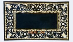 28''x55'' Black Collectible Marble Table Mosaic Mother Of Pearl Inlay Decor B325