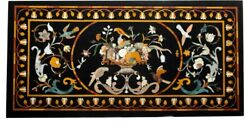 28''x55'' Fruits With Birds Marble Dinner Table Top Art Inlay Kitchen Decor B290