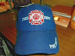 Dark Blue Fire Dept Ball Cap Embroidered Adjust One Size Fits All