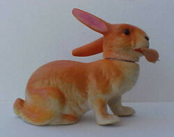 Large German Antique Orange Rabbit Candy Container Easter