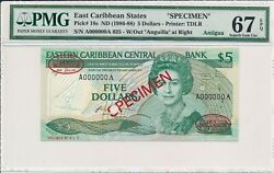 Central Bank East Caribbean States 5 Nd1986-88 Specimen Antigua Pmg 67epq