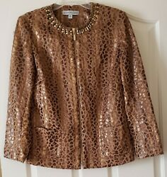 PRE OWNED SAMANTHA GREY LEOPARD STYLE POLYESTER JACKET SIZE 10 $9.99