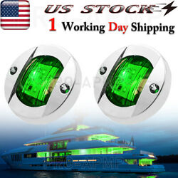 2x 3in Round Marine Boat Led Deck Anchor Lights Green Stern Transom Light